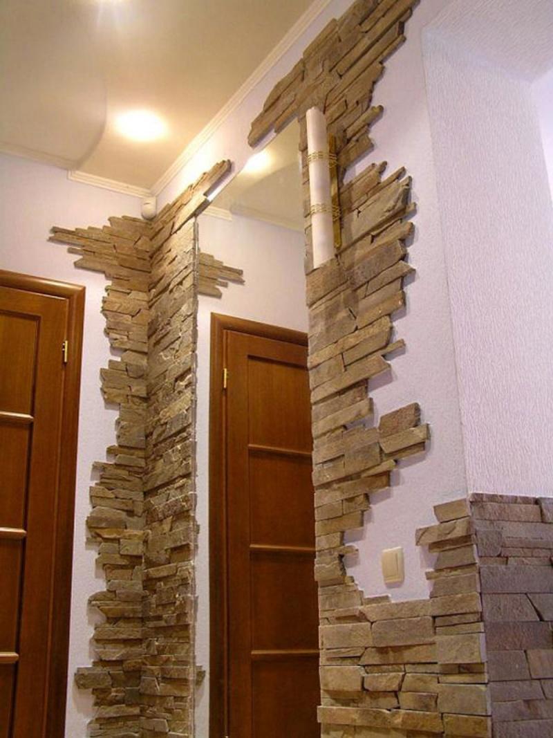 Отделка стены искусственным камнем фото